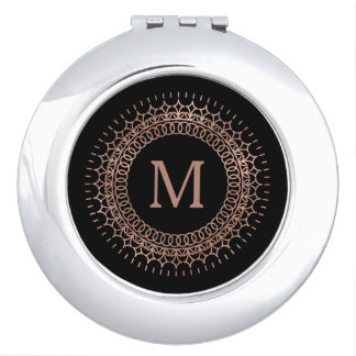 Black & Faux Rose Gold Medallion Monogram Travel Mirror