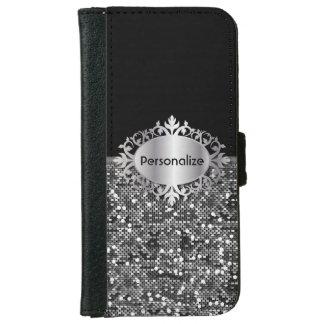Black & Faux Silver Glitter Confetti | Personalize iPhone 6 Wallet Case