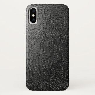 Black Faux Snakeskin Leather Pattern iPhone X Case
