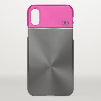 Black Faux Steel Magenta Accent & Monogram iPhone X Case