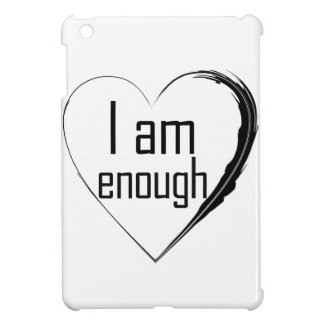 black feathered heart 'I am enough' iPad Mini Covers