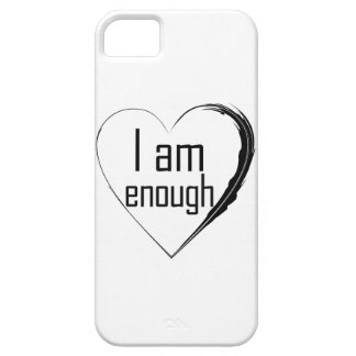 black feathered heart 'I am enough' iPhone 5 Cover