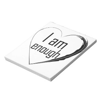 black feathered heart 'I am enough' Notepad