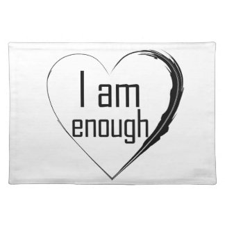 black feathered heart 'I am enough' Placemat