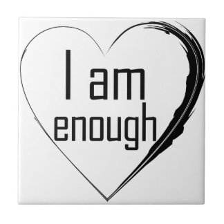 black feathered heart 'I am enough' Tile