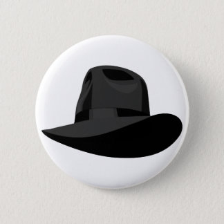 Black Fedora narrow ribbon 2 Inch Round Button