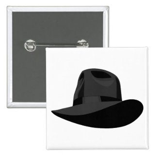 Black Fedora narrow ribbon Pinback Buttons