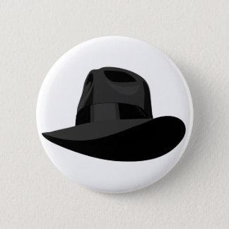 Black Fedora wide ribbon 2 Inch Round Button