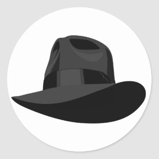 Black Fedora wide ribbon Classic Round Sticker