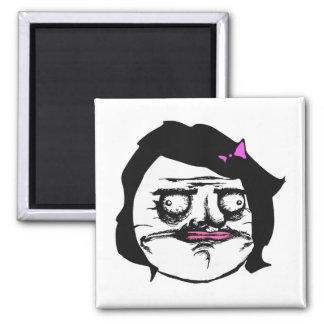 Black Female Me Gusta Comic Rage Face Meme Square Magnet