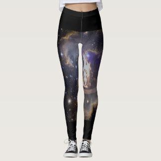Black fiery space leggings