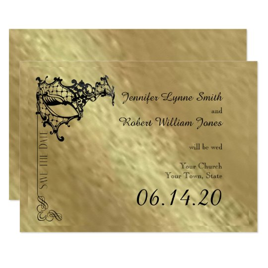 Black Filigree Mask on Gold Save the Date Card