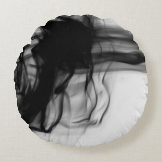 Black Fire II Round Throw Pillow by C.L. Brown