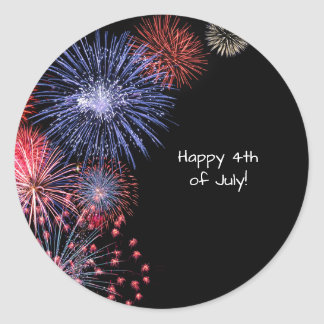 Black Fireworks 4th of July Personalized Classic Round Sticker