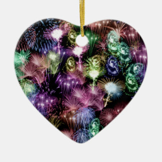 Black Fireworks Ceramic Heart Ornament