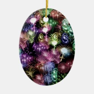 Black Fireworks Ceramic Oval Ornament
