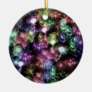 Black Fireworks Round Ceramic Ornament