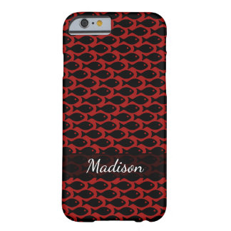 Black Fish in a Sea of Red, Repeating Pattern Barely There iPhone 6 Case
