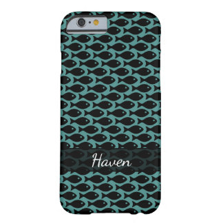 Black Fish in a Sea of Teal, Personalized Barely There iPhone 6 Case