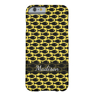 Black Fish in a Sea of Yellow, Repeating Pattern Barely There iPhone 6 Case