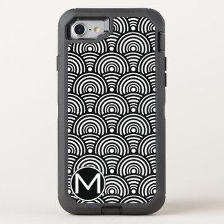 Black Fish Scale Monogram OtterBox Defender iPhone 8/7 Case
