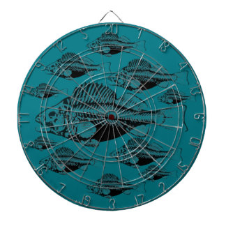 Black Fish Teal Background Dartboard
