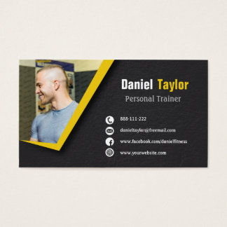 Black Fitness Personal Trainer Photo Business Card