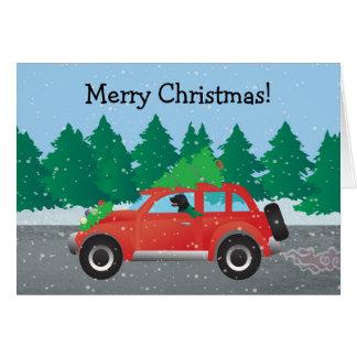 Black Flat-Coated Retriever Driving Christmas Car Card