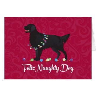 Black Flat Coated Retriever Feliz Naughty Dog Card