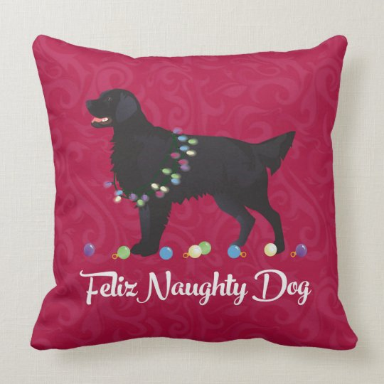 Black Flat Coated Retriever Feliz Naughty Dog Throw Pillow
