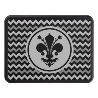 Black fleur de lis on chevron pattern trailer hitch cover