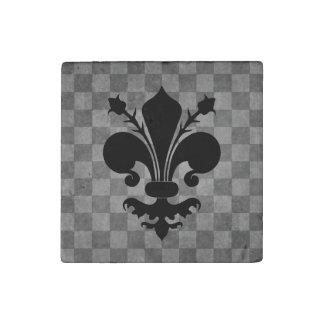 Black Fleur de lis on gray checkerboard pattern Stone Magnets