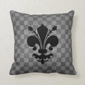 Black Fleur de lis on gray checkerboard pattern Throw Pillow
