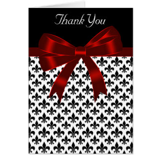 Black Fleur De Lis Red Bow Thank You Card