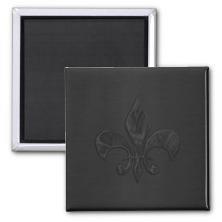 Black Fleur de Lis Square Magnet