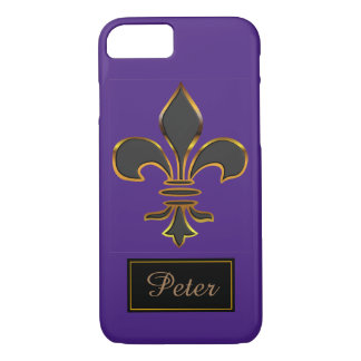 Black Fleur-de-lis Trimmed in Gold iPhone 8/7 Case