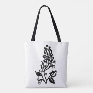 Black Flora Design Tote Bag