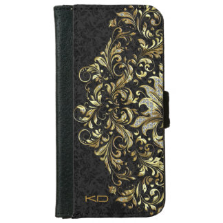 Black Floral Background Glitter & Gold Floral Lace iPhone 6 Wallet Case
