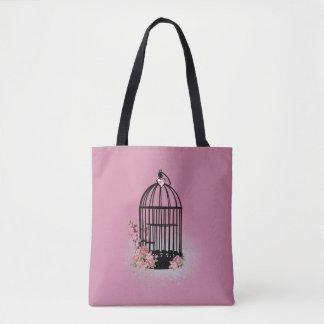 Black Floral Birdcage Pink Tote Bag