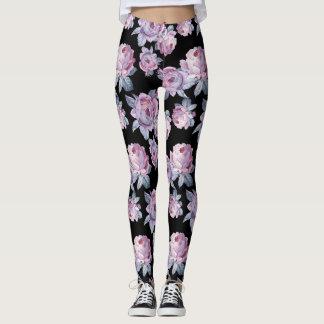 Black Floral Blend Women's Leggings
