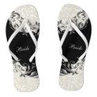 Black Floral & Confetti Glitter | Wedding Flip Flops