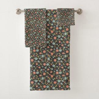 Black Floral Cute Girly Pattern Towel Set