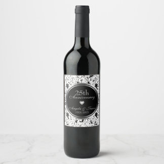 Black Floral Damask - 25th Anniversary Wine Label