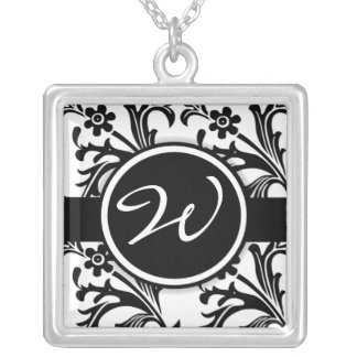 Black Floral Damask Monogrammed Initial Necklace