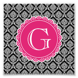 Black Floral Damask Pattern Hot Pink Monogram Photograph