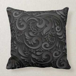 Black Floral/Damask Reversisble Decorative Pillow