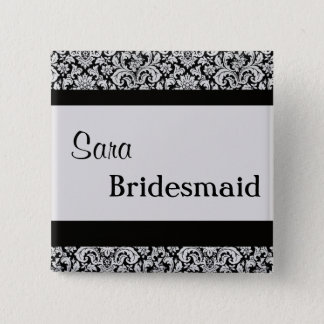 Black Floral Damask Wedding Bride women v3 2 Inch Square Button
