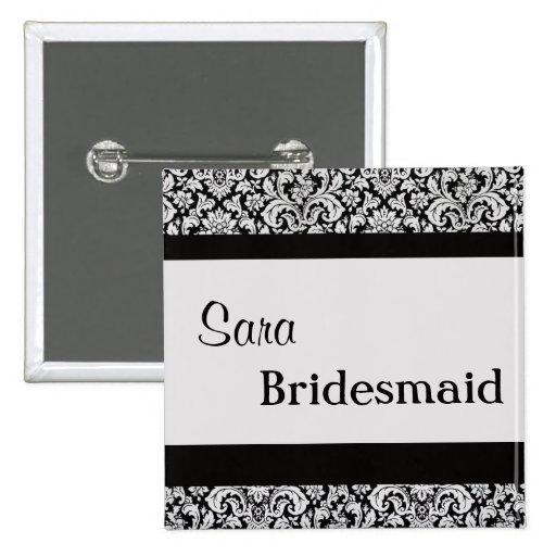 Black Floral Damask Wedding Bride women v3 Buttons