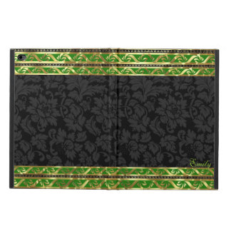 Black Floral Damasks-Green & Gold Border Frame Powis iPad Air 2 Case