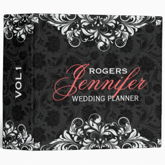 Black Floral Damasks White Lace Lace Binders